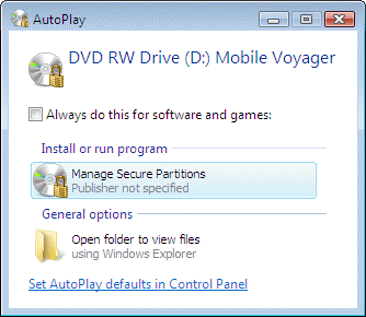 autoplay for password protected DVD RW disc