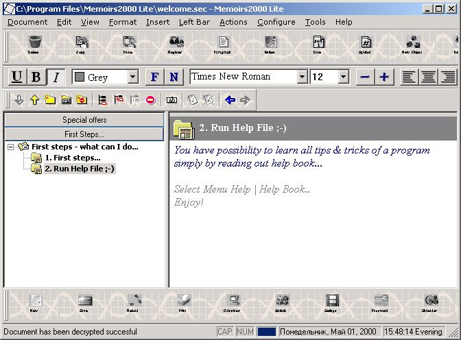 Memoirs2000 Lite v2.01 Screenshot