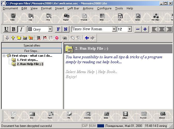 Memoirs2000 Lite v2.01 Screenshot