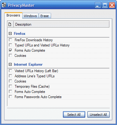 erase internet explorer and firefox downloads history, typed urls  and visited urls history, forms autocomplete, cookies