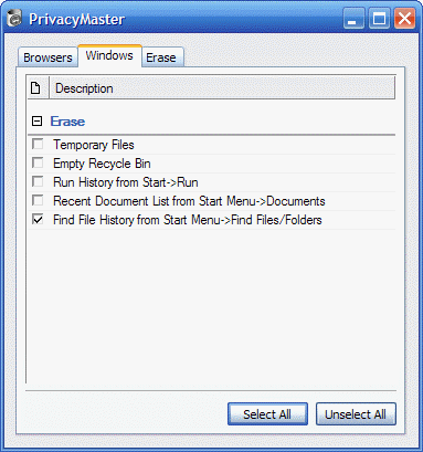 securely delete temporary files, run history, recent document  list, find file history